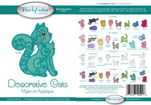 Purely Gates PG5226 Decorative Cats Mylar or Applq Embroidery Designs CD