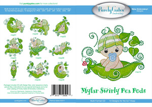 Purely Gates PG5097 Mylar Swirly Pea Pods Embroidery Designs CD
