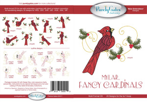 Purely Gates PG5042 Mylar Fancy Cardinals Embroidery Designs CD