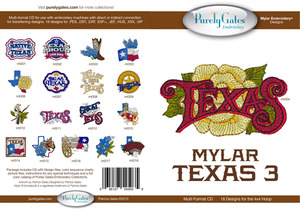 Purely Gates PG5035 Mylar Texas 3 Embroidery Designs CD
