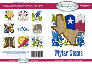 Purely Gates PG5011 Mylar Texas Embroidery Designs CD