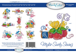 """Purely Gates PG5004 Mylar Swirly Sewing 10 Embroidery 5x7"""" Designs CD"""