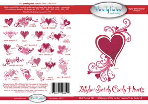 Purely Gates PG4991 Mylar Swirly Curly Hearts Embroidery Designs CD
