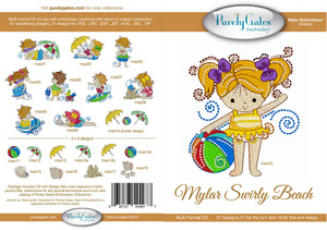 Purely Gates PG4977 Mylar Swirly Beach Embroidery Designs CD