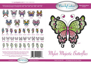 Purely Gates PG4946 Mylar Majestic Butterflies Embroidery Designs CD