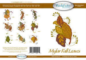 Purely Gates PG4915 Mylar Fall Leaves Embroidery Designs CD