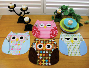 Suzie Shore ST-1124 Who's Place, Owl Place Mats Sewing Patterns