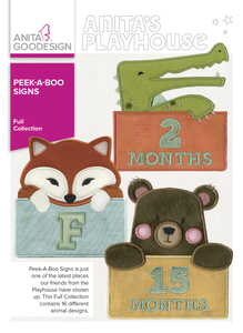 Anita Goodesign 276AGHD 16 Peek-A-Boo-Animal Signs Full Collection Embroidery CD