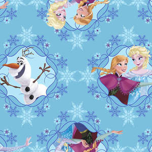 Disney Frozen Sisters Ice Skating Framed Blue Fabric by the Yard 533219130715 Springs Mills