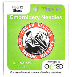 Organ #6685, Titanium 10PK Embroidery Machine Needles Sharp Point, Size 12/80 for 15x1, HAx1, 130/705H, SY2020, SY2031, 206x15, PFx130
