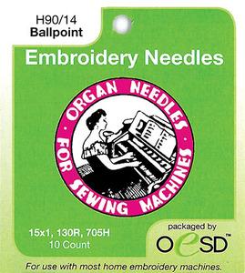 54805: Organ 6697 Embroidery Ball Point Needles HAx1 15x1 STBP Size 90/14, 10 PK