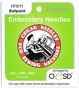 54806: OESD Organ 6687 Titanium Ball Point Embroidery Needles sz75/11 10 PK