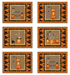 Cheeky Pumpkins Set of 6 Place Mats quilt kit by Studio E