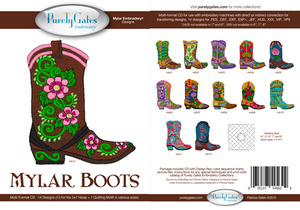 """Purely Gates PG5622 Mylar Boots 5x7"""" Hoop Embroidery 13 Designs CD"""