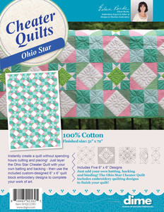 "DIME SHQCC001 Ohio Star Cheater Quilt 51x72"" Five 6x6 Designs CD, Use 100% Cotton"