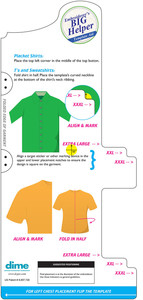DIME EH0004 Embroiderers Big Helper Placement Template Aid, Sizes XL to XXXL for Left and Right Chest Embroidery