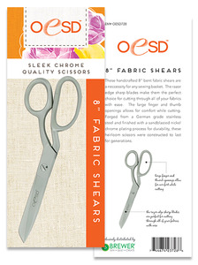 63927: OESD 728 Razor Edge 8in Bent Trimmers, Fabric Shears Scissors, Nickle Chrome Plated, German grade stainless steel