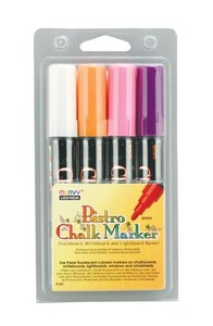4 Bistro Chalk Broad Pt Markers Fl WHT VIO ORG PNK