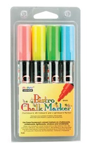 4 Bistro Chalk Broad Pt Markers Fluo Rd Bl Grn Ylw