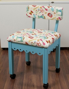 64399: Arrow 7019W Blue Chair with Riley Blake Sewing Notions Fabric on White