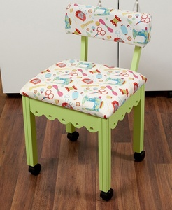 Arrow 7014W Green Sewing Chair with Riley Blake Fabric on White Background