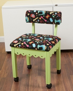 Arrow 7014B Green Sewing Chair with Riley Blake Fabric on Black Background
