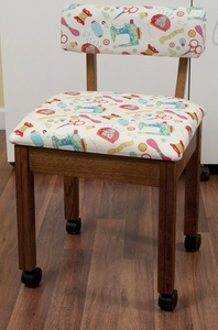 Arrow 7000W Oak Sewing Chair with Riley Blake Sewing Motifs Fabric on White Background