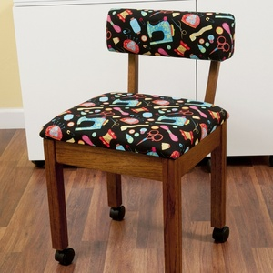 64391: Arrow 7000B Oak Sewing Chair with Riley Blake Fabric on Black Background