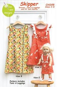 Olive Ann Designs OAD98 Skipper Dress/Tunic/Leggings and Doll Dress sz 2-8yrs