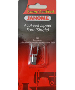 Janome 116, 202128007 Acufeed Snap On Zipper Foot for 9mm Stitch Width Machines*
