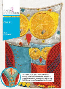 Anita Goodesign 198MAGHD 12 Owls x 3 Sizes, Mini Collection Embroidery Designs CD