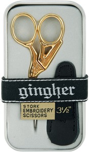 "Gingher G-ST 3.5"" Stork Embroidery Thread Trimmer Cutting Scissors, Nickel Blades, Gold Handles"