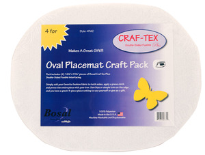 "55422: Bosal Craf-Tex Placemat Craft 4 Pack 16-1/2"" x 13-1/4"" Oval Double-Sided Fusible Plus"