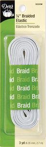 Dritz 9330w 1/4'' Braided Elastic 3 yds White