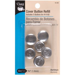 """Dritz Flat Cover Button Refill Size 30 - 3/4"""" - 5 Ct. 13-30 for #14 Kit"""