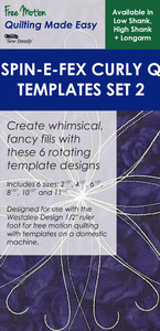 64990: Sew Steady Westalee CURLY Q SPIN-E-FEX WT-SFXSCQSET2 6 Template Designs Set 2