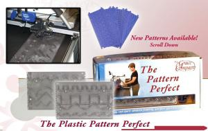 Grace GC-PP-01,  Basic Set: Plastic Pattern Perfect: 10 Templates, 8 Designs, with 4 Patterns on Each Side +Pen Stylus for Frames with Table Inserts ames, - Specify Current Grace Model, Grace Pattern Perfect Support Shelves, 8 Designs with Plastic Grooved Templates, and Stylus,  for Quilting Frames Pinnacle, GMQ Pro, Little Gracie II, gracie king, gracie queen