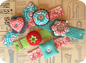Embroidery Garden #44 Wrist Pincushions Set Designs on CD, Heart, Flower, Round and Square Shaped Pincushions.