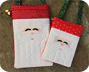 Embroidery, Garden, Santa, Purses, Set, zipper