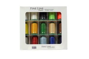 Exquisite FL1500 Best Buy Fine Line Thread Kit 60wt Poly 15 Colors of 1500m or 1640 Yard Snap Spool Cones, for Micro Embroidery, Tiny Micro Lettering