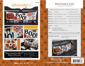 "Kimberbell KD180 ""Halloween Boo"" 16x38"" Bench Pillow Sewing Project Pattern"