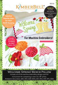 Kimberbell KD516 Embroidery CD: Welcome Spring! Bench Pillow Machine Embroidery Project