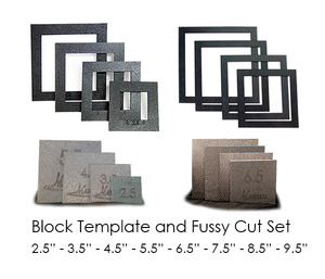 "Martelli BLK-16-ALL No Slip Block Templates, Fussy-Cut Windows Combo (16-pieces, 8-sizes): 2.5"" thru 9.5"""