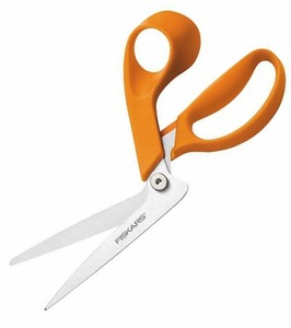Fiskars 8in F1995 Razor Edge Fabric Scissors Shears Bent Trimmers for Table top Cutting