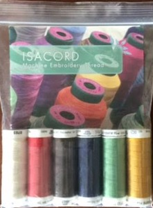 Isacord Sample Pack, Top 6 Spools of 220 Yard 40wt Trilobal Poly Sheen Sewing Embroidery Thread with Color Chart Picture