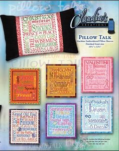 66322: Claudia's Creations PT60987 Pillow Talk Holiday Embroidery Designs CD