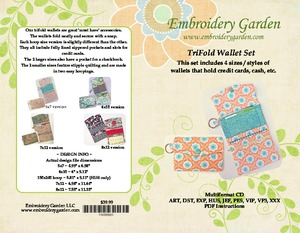 Embroidery, Garden, TriFold, Wallet, set, 5x7, 6x10, 7x12, 8x12, accessory, phone, checkbook, zipper