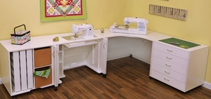 Arrow Modular Mod Squad 4-Piece Set: Sewing Cabinet w/ Air Lift, Corner Cabinet, 5-Drawer Storage Cabinet, Thread Cabinet, All in White