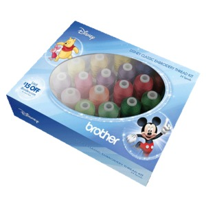 Brother Disney ETPDISCL24 Embroidery Thread Kit 24 Spools x 1100 Yards, 40wt Poly, Classic Colors for Disney Characters