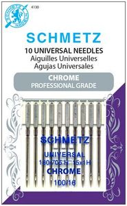 Schmetz, S-4130, Chrome, Professional, Grade, Universal, 10, pack, 130, 705, H, Size, 100, 16, strong, durable
